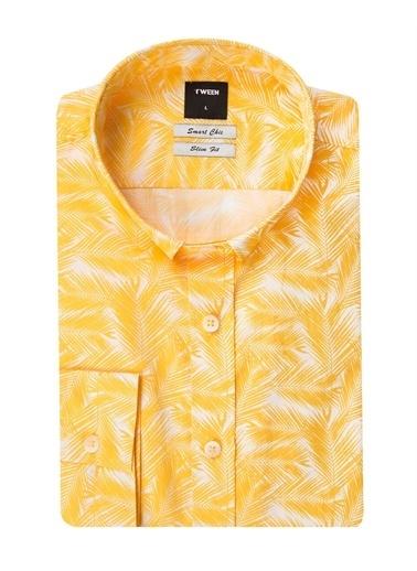 Tween Slim Fit Desenli Gömlek Sarı